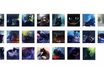 23 self-adhesive labels stickers sticker square sticker - cats - 4 x 4 cm