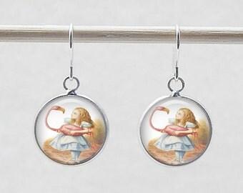 Earrings - Alice in Wonderland, classic illustrations, fairy tale jewelry, book pendant earrings, photo jewelry, Sterling silver hooks