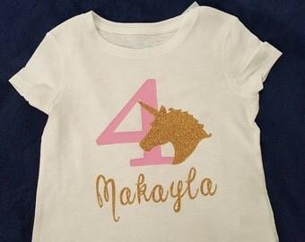 Girls Unicorn Birthday T Shirt