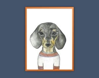 A3 dachshund  art print  , dachshund lover gift