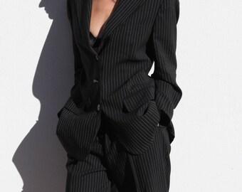 Vintage Max Mara black & white striped wool blazer,suit jacket.size I-42,USA-8