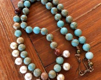 Aqua Terra Jasper beads with Swarovski Pearl Drops hand knotted by SeeJansBeads