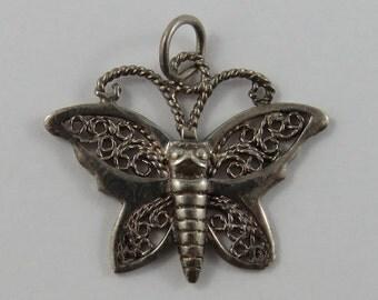 Butterfly Sterling Silver Vintage Charm For Bracelet