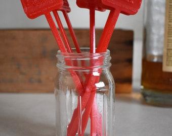 Lot of 8 Vintage Red Smirnoff Vodka Swizzle Sticks