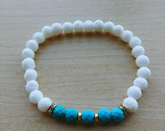 6mm Diffuser bracelet with White Coral and faceted turquoise