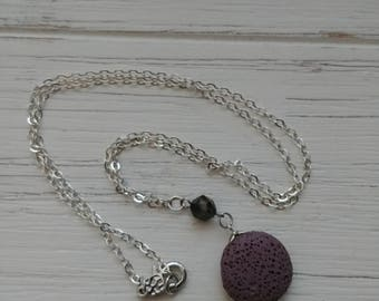 Geometric tourmaline diffuser necklace with purple lava stone, silver brass chain 22 inch