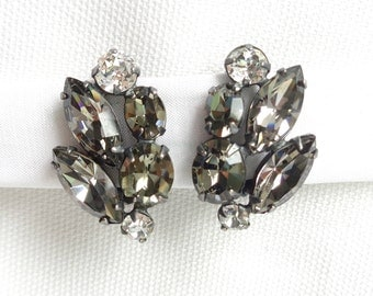 Vintage Black Diamond Oval Cut and Marquis Stunning Clip Back Earrings - Estate Jewelry