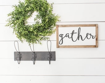 GATHER mini |  Fixer Upper Decor, Farmhouse Signs, Farmhouse Sign Decor, Modern Farmhouse, Fixer Upper Style, Framed Wood Sign