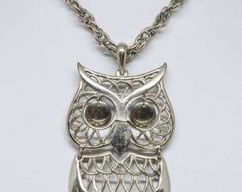 Large Silver tone Necklace With Owl Pendant