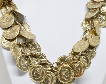 Gorgeous Gold Tone Coin Necklace