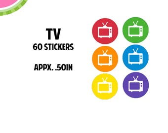 TV Icon Stickers   60 Kiss Cut Stickers   IC051