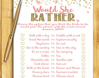 Bridal Shower Game - Would She Rather - Coral and Gold - Instant Printable Digital Download - diy Shower Printables Activity Unique Game