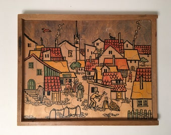 Antonio Vitali Jigsaw Puzzle wooden Toy Village Theme - Very rare - Perfect Gift