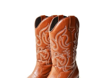 25%OFF cowboy boots women western embroidered boots brown Country style Boho chic Cowgirl Leather Vintage Size EU45/US11.5