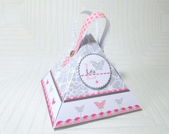 Triangle dragée box with butterfly - Customizable box