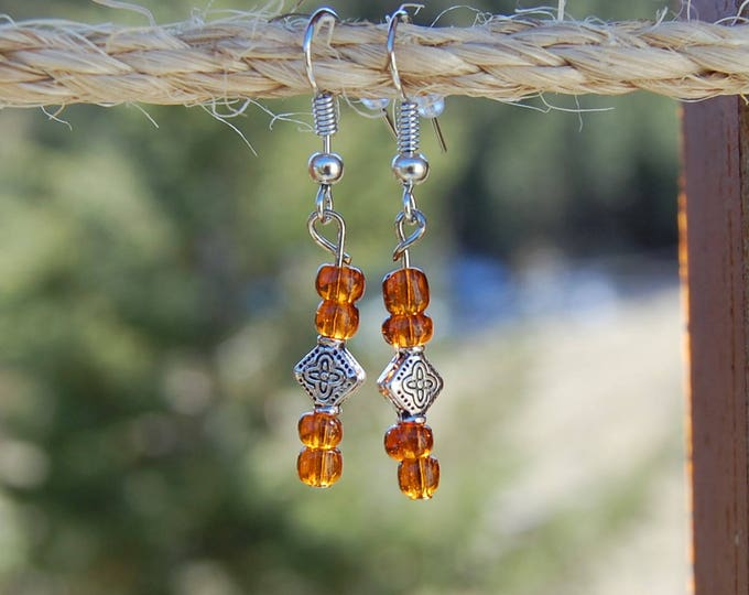 Amber & Silver Beaded Earrings