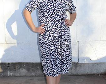 60's Vtg Red White & Blue Geometric Pattern Dress