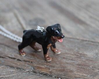Rottweiler dog ceramic necklace