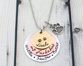 Hand Stamped Pet Necklace - Paw Print Necklace - Dog Lover Gift - Cat Lover Gift for Her - Personalized Dog Necklace - Cat Necklace