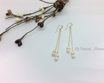 14k gold filled earrings. Ivory freshwater pearl dangle earrings. Christmas Valentines drop earrings. Bridal earrings. Bridesmaid earrings.