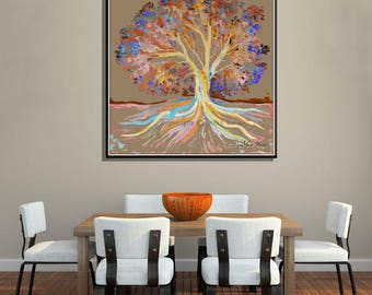 Beige Wall Art, Beige Wall Decor, Kitchen Art, Large Wall Art, Large Canvas Art, Tree Art, Tree Wall Decor, Kitchen Wall Art
