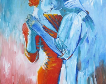Couples Art, Art Painting, Paintings on Canvas, Romantic Gifts Couples Painting, Romantic Painting, Romantic Wall Art, Romantic Gift Idea