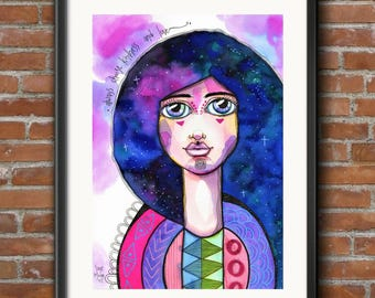 Hair of Stars - Original Watercolor Abstract Woman galaxy portrait Painting