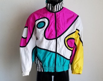 Vintage Head Multicolor Windbreaker Jacket Sz. L