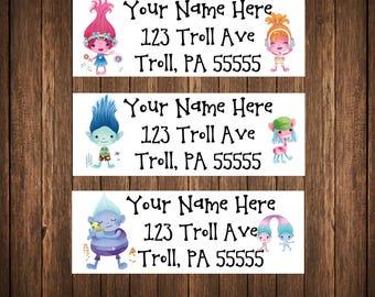 Trolls Address Labels, Mailing Labels