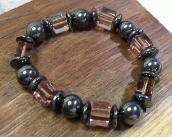 Magnetic Hematite and Pink Crystal Bracelet  Elastic
