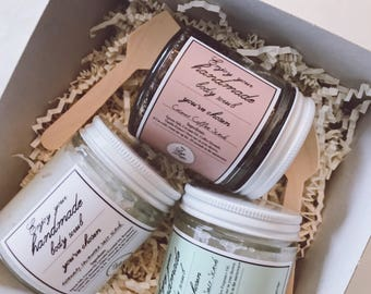 3 for 20, pick ANY 2 - 4oz Salt Scrubs, come with a gift box & 2 wooden spoons