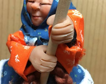 Ruthie the handmade kitchen witch doll