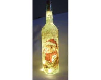 bunny bottle lamp,wine bottle light,christmas bunny,bunny gift,rabbit home decor,rabbit gift,christmas in july ,LED lamp,upcylced bottle