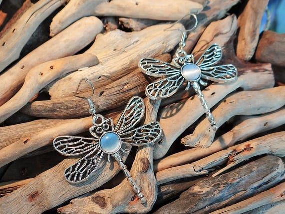 Dragonfly Earrings Dragon Fly Dragonflies Cats Eye Cabochon Cornflower Blue Periwinkle Blue Baby Blue