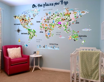 World map wall decal etsy animal map cultural world map wall decal reusable vinyl fabric repositionable decal gumiabroncs Image collections
