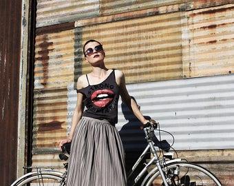 Long Skirt; Maxi Skirt; Gray Skirt; Boho Skirt; Pleated Skirt; Handmade Skirt