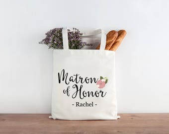 Personalized Matron of Honor Gift Bridesmaid Wedding Favor Tote Wedding Welcome Bags