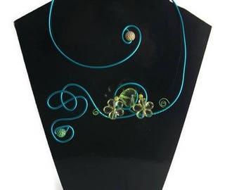 Blue aluminum wire necklace