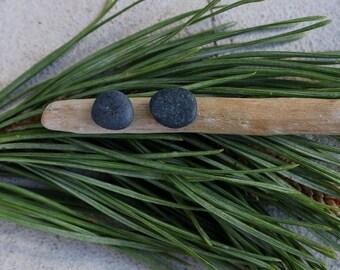 Tiny Black Beach Stones - Minimalist Men's Earrings - Hypoallergenic Studs
