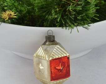 Vintage Glass Top Christmas Ornament, Silver And Red Ornament Made In US Of A