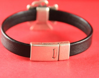 5B/1 MADE IN EUROPE magnetic clasp, flat leather cord clasp, 10mm cord clasp, 10mm cord magnetic clasp (76931/10) Qty1