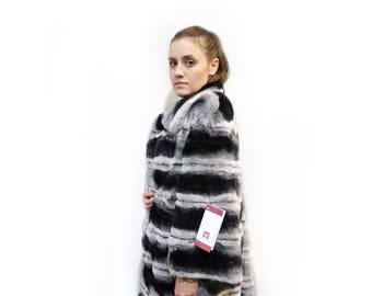 Soft rex rabbit fur coat with leather stripes F114