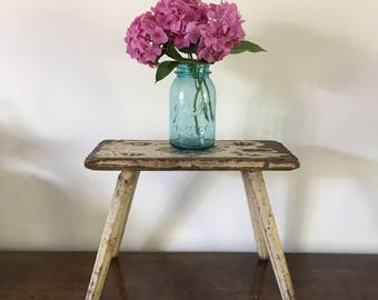Vintage French Wooden Stool, Rustic Stool, Cream Painted Stool, Country Cottage Decor, Shabby Chic