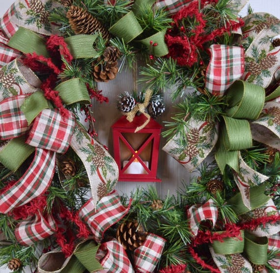 Red Tin Lantern Christmas Pine Wreath with Bows, Berries and Pine Cones; Red Green Beige Winter Holiday Decor Wreath; Christmas Wreath Decor