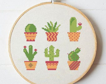 Cactus cross stitch pattern,Cross stitch cactus,Cross stitch home decor,Cross stitch plants,plant cross stitch pattern,Fiber Universe