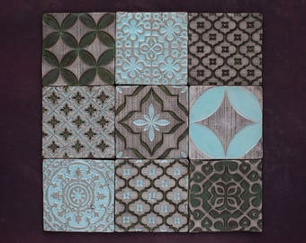 Antique Green&Pale Blue Ceramic Rustic Tile Set of 9 for Kitchen/Bathroom Backsplash