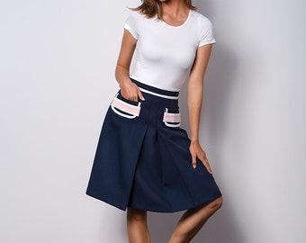 Elegant dark blue skirt to work MODERN CLASSIC