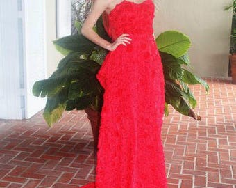 Red Chiffon Rosette  Strapless  wedding Gown