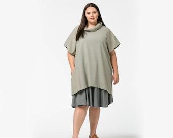 Cowl necked tunic in khaki plus size only