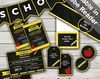 Back To School Party Printables. Editable. Instant Download.